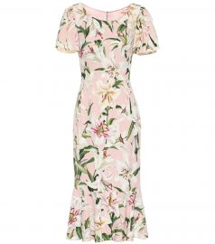 Floral stretch-crêpe midi dress at Mytheresa