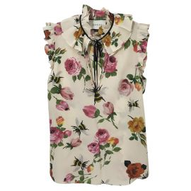 Floral tie neck top by Gucci at Nordstrom