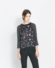 Floral wool tshirt at Zara