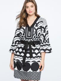 Flounce Sleeve V-Neck Dress at Eloquii