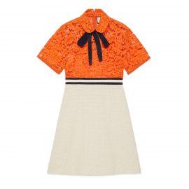 Flower Lace Dress In Orange by Gucci at Farfetch