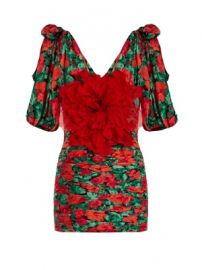 Flower-embellished ruched silk mini dress at Matches