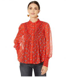 Flowers in December Print Sheer Blouse by Free People at Zappos