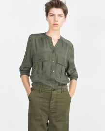 Flowing Shirt in green at Zara