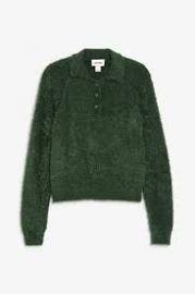 Fluffy green polo sweater at Zara