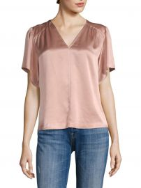 Flutter-Sleeve Charmeuse Blouse at Saks Fifth Avenue