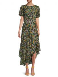 Flutter-Sleeve Asymmetrical Floral Dress by ASTR the Label at Saks Off 5th