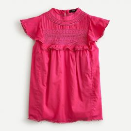 Flutter-Sleeve Crocheted Lace Top by J. Crew at J. Crew