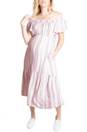 Flutter Sleeve Maternity Midi Dress at Ingrid and Isabel