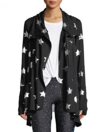 Foil-Printed Draped Zip-Front Jacket at Neiman Marcus