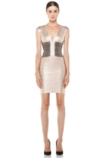 Foiled cap sleeve dress by Herve Leger at Forward by Elyse Walker