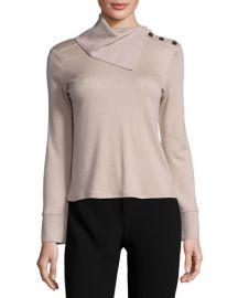 Fold-Neck Slit-Sleeve Cashmere Sweater at Neiman Marcus