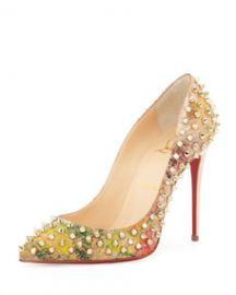 Follies Spiked Cork Red Sole Pump  Multicolor at Neiman Marcus