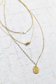 For Keeps Crystal Layering Necklace in gold at Urban Outfitters