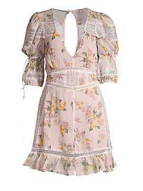 For Love  amp  Lemons - Isadora Lace-Trim Floral Dress at Saks Fifth Avenue