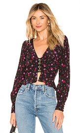 For Love  amp  Lemons Isabella Ruched Top in Cherry Blossom from Revolve com at Revolve