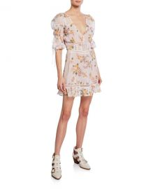 For Love  amp  Lemons Isadora Floral Mini Puff-Sleeve Dress at Neiman Marcus