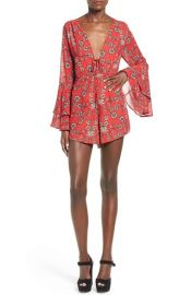 For Love and Lemons Pia Floral Print Romper in Red at Nordstrom