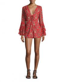 For Love and Lemons Pia Long-Sleeve Floral-Print Romper Red at Neiman Marcus