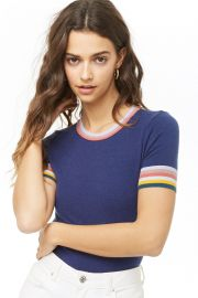 Forever 21 Multicolor Striped-Trim Knit Top at Forever 21