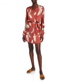 Forte Forte Papillons Gitans Long-Sleeve Cloque Wrap Dress at Neiman Marcus