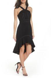 Foxiedox Aviana High/Low Halter Neck Dress at Nordstrom