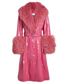 Foxy Belted Shearling-Trimmed Patent-Leather Coat by Saks Potts at Intermix