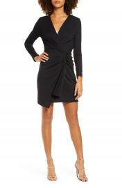 Fraiche by J Long Sleeve Ruched Faux Wrap Minidress   Nordstrom at Nordstrom