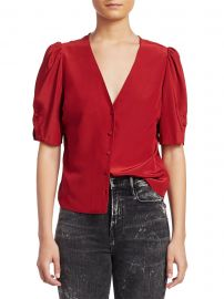 Frame - Olivia Silk Puff-Sleeve Top at Saks Fifth Avenue