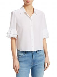 Frame - Ruffle Sleeve Top at Saks Fifth Avenue