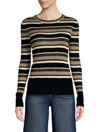 Frame Panel-Stripe Metallic Ribbed Pullover Sweater at Saks Fifth Avenue