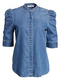 Frame - Joanie Shirred Sleeve Chambray Shirt at Saks Fifth Avenue