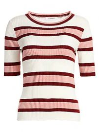 Frame - Panel Stripe Short-Sleeve Wool-Blend Sweater at Saks Fifth Avenue