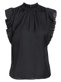 Frame - Pleated Ruffle Top at Saks Fifth Avenue