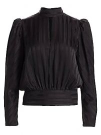 Frame - Puff-Sleeve Jacquard Silk Top at Saks Fifth Avenue