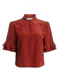 Frame - Ruffle-Sleeve Silk Shirt at Saks Fifth Avenue