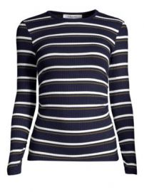 Frame - Striped Ribbed Long Sleeve Pullover at Saks Fifth Avenue