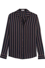 Frame Denim  Le Classic striped washed silk-charmeuse shirt at Net A Porter