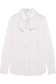 Frame Denim  Le Scarf pussy-bow printed silk-charmeuse shirt at Net A Porter