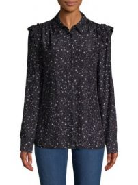 Frame Diamond-Print Silk Button-Down Shirt at Saks Off 5th