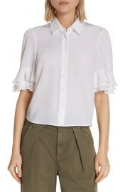 Frame ruffle sleeve silk top at Nordstrom