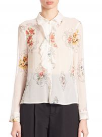 Framed Floral-Print Ruffle-Front Blouse at Neiman Marcus