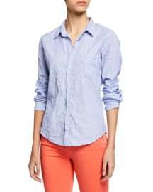Frank  amp  Eileen Dot-Print Button-Down Long-Sleeve Cotton Poplin Shirt at Neiman Marcus