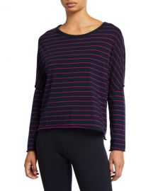 Frank  amp  Eileen Tee Lab Striped Long-Sleeve Jersey Crop Tee at Neiman Marcus