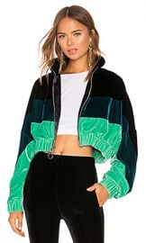 Frankie B Velvet Track Jacket in Green from Revolve com at Revolve