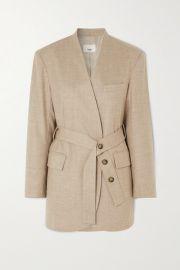 Frankie Shop - Belted wool-blend wrap blazer at Net A Porter