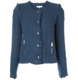 Frayed Tweed Jacket in Blue by IRO at Farfetch