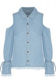 Frayed cold-shoulder chambray top at The Outnet