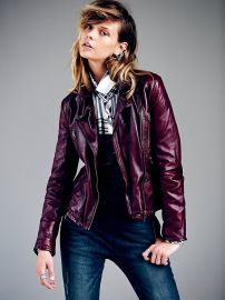 Free People  Classic Biker Jacket in Red at Free People