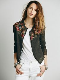 Free People  Embroidered Shrunken Cardi at Free People